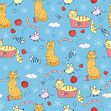 Seamless pattern with funny cats. Kid seamless pattern with funny cats Royalty Free Stock Photography