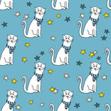Seamless pattern with funny cats Stock Photo