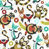 Seamless pattern with funny cats. Artistic background with cute kittens. Colorful animals. Favorite pets Stock Images