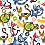 Seamless pattern with funny cats. Artistic background with cute kittens. Colorful animals. Favorite pets Royalty Free Stock Photos