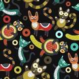 Seamless pattern with funny cats. Artistic background with cute kittens.  Stock Photo