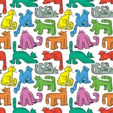 Seamless pattern with funny cats. Background with domestic pets Royalty Free Stock Images