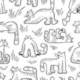 Seamless pattern with funny cats. Background with domestic pets Royalty Free Stock Photos
