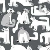 Seamless pattern with funny cats. Background with domestic pets. In incomlete cute childrens style. Vector illustration for surface designs, wallpapers, textile Stock Illustration