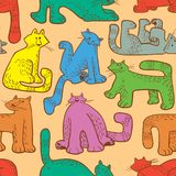 Seamless pattern with funny cats. Background with domestic pets Stock Photo