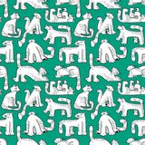 Seamless pattern with funny cats. Background with domestic pets Royalty Free Stock Image
