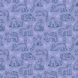 Seamless pattern with funny cats. Background with domestic pets Stock Photos