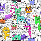 Seamless Pattern With Funny Cats. Royalty Free Stock Photos