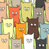 Seamless pattern with funny cats color Royalty Free Stock Images
