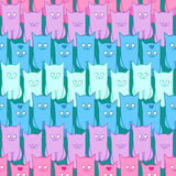 Seamless pattern with funny cats color Royalty Free Stock Photography