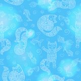Seamless illustration  with funny cats contour, balls and fishes, a light outline on a blue background. Seamless pattern with funny cats contour, balls and Stock Image