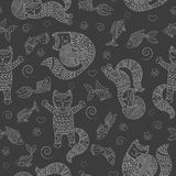 Seamless illustration  with funny cats contour, balls and fishes, a light outline on a dark background. Seamless pattern with funny cats contour, balls and Royalty Free Stock Image