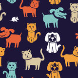 Seamless pattern with funny cats and dogs. Vector cartoon seamless pattern with funny cats and dogs - abstract background Stock Images