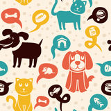 Seamless pattern with funny cats and dogs. Vector cartoon seamless pattern with funny cats and dogs Royalty Free Stock Image