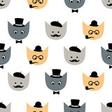 Seamless pattern with funny cats with fashion glasses Royalty Free Stock Photos