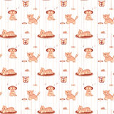 Seamless pattern with funny cats in flat style Royalty Free Stock Image