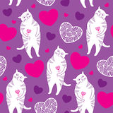 Seamless pattern with Funny cats and hearts Stock Photo