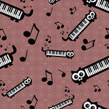 Seamless pattern with funny cats musical theme Stock Photography