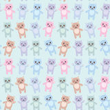 Seamless pattern funny cats pastel colors on blue background. Vector Stock Photo