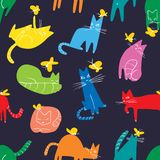 Seamless pattern with funny cats playing with butterflies. Background with domestic pet. S in incomlete cute childrens style. Vector illustration for surface stock illustration