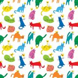 Seamless pattern with funny cats playing with butterflies. Background with domestic pet. S in incomlete cute childrens style. Vector illustration for surface royalty free illustration