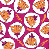 Seamless pattern with funny cats. And purple pink background for children and kids. Handmade cartoon style Royalty Free Stock Image