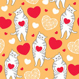 Seamless pattern with Funny cats and red hearts Stock Photos