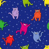 Seamless pattern with funny cats on starry sky. Seamless vector pattern with color funny cats on a background of blue starry sky Stock Images