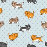 Seamless pattern with funny cats. Vector Stock Images