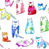 Seamless pattern of a funny cats. Watercolor hand drawn illustration.White background Stock Photo