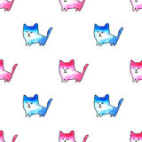 Seamless pattern of a funny cats. Watercolor hand drawn illustration.White background Royalty Free Stock Photos