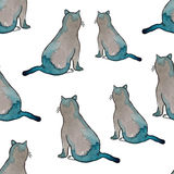 Seamless pattern. Funny cats with watercolor texture. Vector illustration. Seamless pattern. Funny cats with watercolor texture. Cute cats in grey and green Stock Image