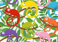 Seamless pattern with funny chameleon. Vector illustration. Colored set of funny chameleon on a background of leaves. Suitable for children`s playrooms Royalty Free Stock Image