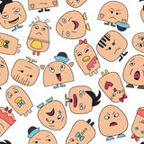 Seamless pattern with funny character faces avatars. Royalty Free Stock Image