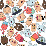 Seamless pattern with funny character faces. Vector illustration Stock Photos