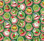 Seamless pattern with funny Christmas cartoon stickers Stock Photo