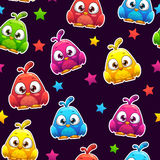 Seamless pattern with funny colorful birds Royalty Free Stock Photo