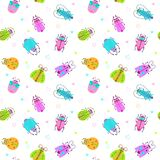 Seamless pattern with funny colorful comic bugs. On white background. Decorative childish texture. Vector illustration Stock Photography