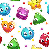 Seamless pattern with funny colorful faces Royalty Free Stock Images