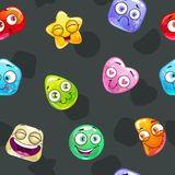 Seamless pattern with funny colorful jelly characters. Royalty Free Stock Photography