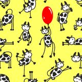 Seamless pattern with funny cow Stock Images