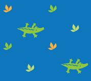 Seamless pattern with funny crocodiles Royalty Free Stock Photos