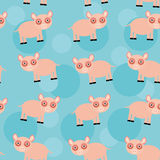 Seamless pattern with funny cute animal pig on a blue background Stock Images