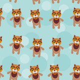 Seamless pattern with funny cute cat animal on a blue background Royalty Free Stock Image