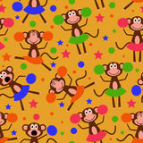 Seamless pattern with funny cute cheerleader monkeys Royalty Free Stock Photography