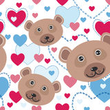 Seamless pattern with funny cute face bear, pink, blue heart on Royalty Free Stock Photography