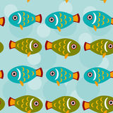 Seamless pattern with funny cute fish animal on a blue backgroun. D. Vector nimal; aquatic; graphic; element; cartoon; stylized; tropical; aquarium; colorful Royalty Free Stock Image