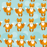 Seamless pattern with funny cute fox animal on a Stock Images