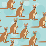 Seamless pattern with funny cute kangaroo animal Stock Photography