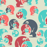 Seamless pattern with funny cute monsters. Vector. Illustration Stock Images